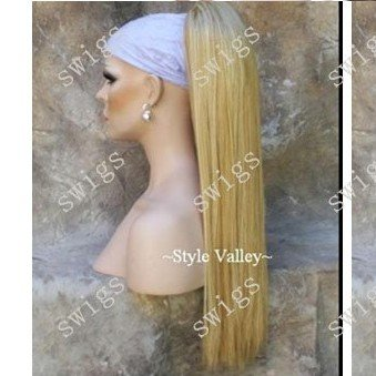 Stunning Light Blonde Straight clip in on synthetic ponytail hair extension