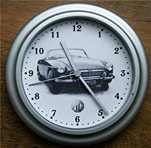 Classic car wall clock mg mgb black and white - Black and white kitchen clock ...