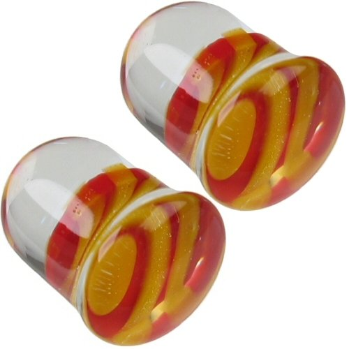 Pair of Glass Single Flared Tiger Stripes Plugs: 7/16
