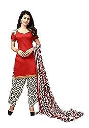 Suchi Fashion Red & Cream Printed Crepe Dress Material