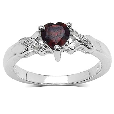 The Garnet Ring Collection: Beautiful Sterling Silver Heart Shaped Garnet Engagement Ring with Diamond Set Shoulders