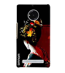 Omnam Girl Giving Back Pose Printed Designer Back Cover Case For Micromax Yuphoria