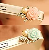Rose Flower Pattern 3D Crystal Bead Pearl Diamond 3.5mm CellPhone Charm Anti Dust Plug Earphone Headphone Jack Accessory For iphones, ipods, ipads, Samsung Galaxy series and more - blue