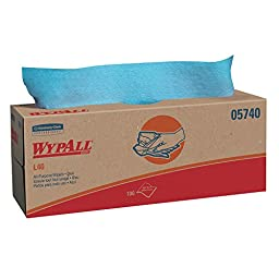 WypAll L40 Disposable Cleaning and Drying Towels (05740), Limited Use Wipers, Blue, 9 Pop Up Boxes per Case, 100 Sheets per Box, 900 Sheets Total