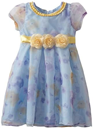 Nannette Little Girls' Blue Flower Printed With Tulle, Light Pastel Blue, 6X