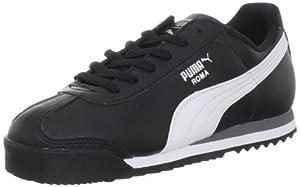 PUMA Roma Basic JR Sneaker (Little Kid/Big Kid) , Black/White/Puma Silver, 11 M US Little Kid