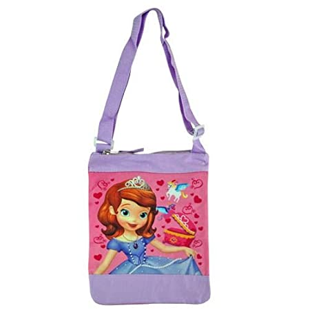 Great Sofia the First graphics, bright colors and hearts make this the perfect bag for all little girls. Bag features an adjustable crossbody strap and top zip closure. Officially licensed by Disney. Great for storing toys and other treasured trinket...
