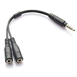 BEBONCOOL(TM) 3.5mm 4-Pin to 2x 3-Pin 3.5mm Headset Splitter Adapter M/F [Lifetime Warranty]