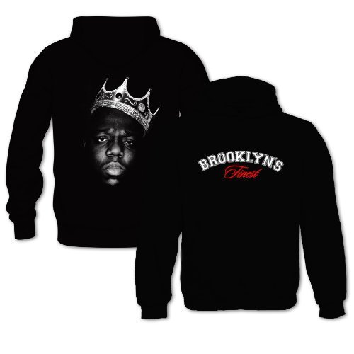 Bang Tidy Clothing Men'S Biggie Smalls Brooklyns Finest Notorious B.I.G. Hip Hop Music Hoodie Xx-Large Black