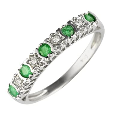 White 9ct Gold 0.27ct Natural Emerald & 2pt Diamond Half Eternity Band Ring