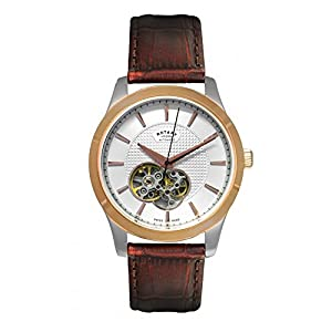 Rotary Watches Men's Les Originales Swiss Made Two Tone Rose Watch With Keyhole Skeleton Dial