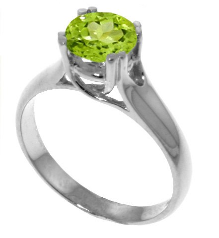 Genuine 1.1 Carat (ct, cttw, ctw) Round Peridot .925 Sterling Silver Solitaire Engagement Ring