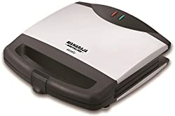 Maharaja Whiteline Excelo 700-Watt Sandwich Maker (Metallic Black and Silver)
