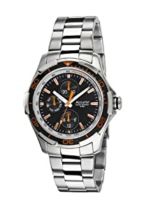 Accurist Men's Quartz Watch with Black Dial Analogue Display and Silver Stainless Steel Bracelet 5033988027856