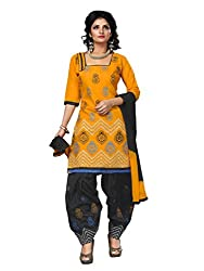 Trendz Apparels Yellow Cotton Patiala Salwar Suit