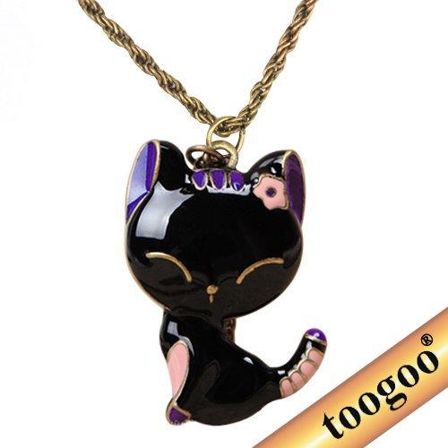 toogoor-collar-de-cadena-larga-colgante-de-gato-negro-vidriado