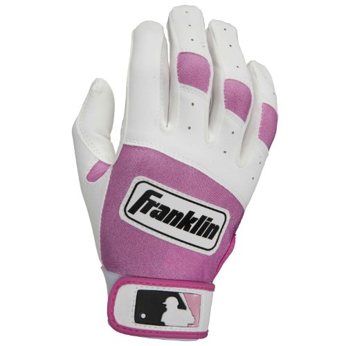 Franklin Sports 10630F4 MLB Youth Classic Series Batting Glove White-Pink Large