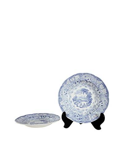 Found Set of 2 Rorstrand Rim Soup Bowls, Blue/White