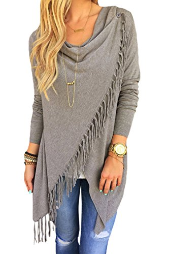 Apparel4yu Women's Long Sleeve Wrapped Cardigan Tassel Hem Poncho Coat (Boutique Clothing For Women compare prices)