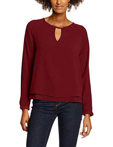 ONLY onlMARIANA MYRINA SOLID L/S TOP WVN NOOS, Camicia Donna, Rosso (Syrah), 38