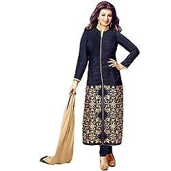 Latest Wize Blue Straight Cut Bangalore Silk Embroidered Dress Material with Chiffon Dupatta