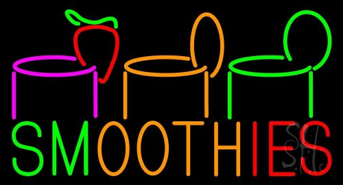 """Smoothies Neon Sign 20"""" Tall X 37"""" Wide X 3"""" Deep front-116559"""