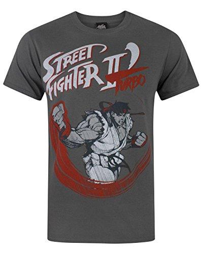 Street Fighter Turbo maglietta da uomo Charcoal XX-Large