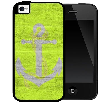 Lime Green Wood Pattern  Gray Anchor 2-Piece