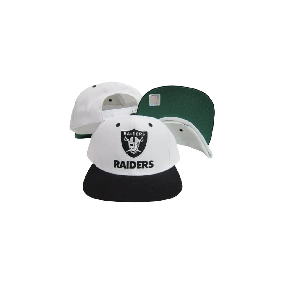 Los Angeles Raiders Word White   Black Two Tone Plastic Snapback Adjustable  Plastic Snap Back Hat 0965b65c0