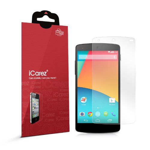 iCarez® [HD Clear] Highest Quality Premium Screen protector for LG Google Nexus 5 High Definition Ultra Clear & anti bacterial & anti Scratch & bubble free & reduce fingerprint & No rainbow & washable Screen Protector **PET Film Made in Japan** Easy install & Green healthy Product with Lifetime Replacement Warranty (3-Pack) – Retail Packaging 2014