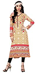 Justkartit Women's (& Girls) Unstitched pakistani malai lawn casual wear kurti / karachi style kurti / Straight style kurta for women (With scarf piece attached)