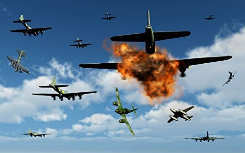 German Messerschmitt 262 planes attacking B-17 Flying Fortress bombers. 32 x 48 Poster