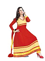 Parinaaz fashion Chhaya Georgette Red Unstitched Anarkali salwar suit dress material