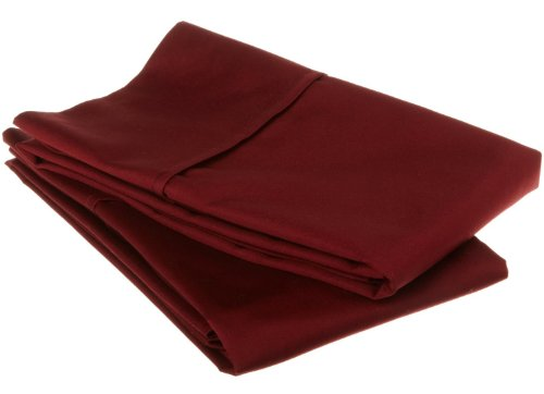 Egyptian Cotton 530 Thread Count King Pillowcase Set Solid, Burgundy back-998034