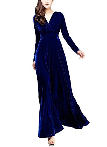 King Shield Women's Solid Color V-neck Long-sleeved Dress (Medium, Royal blue)
