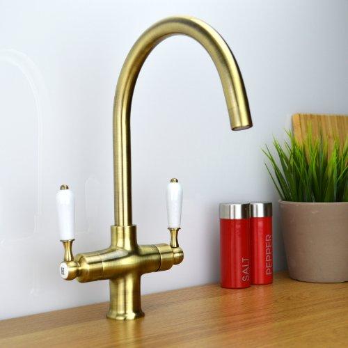 Traditional Twin Lever Antique Bronze Monobloc Kitchen Sink Mixer Tap COLOGNE