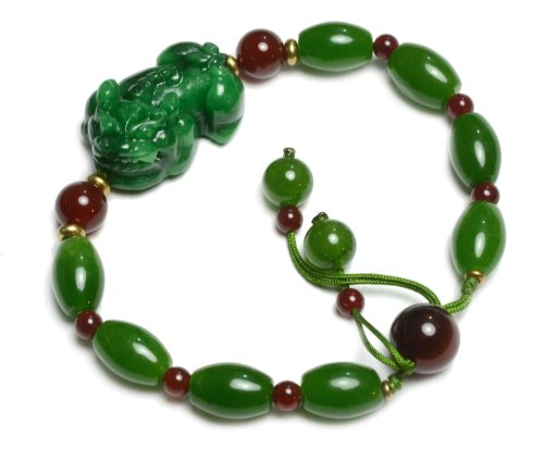 Auspicious Chinese Pi Shou Fortune Tiger Carved Green Jade Bracelet, with Fortune Coins, Adjustable 7-10 Inches -Fortune Feng Shui Jade Fashion Jewelry