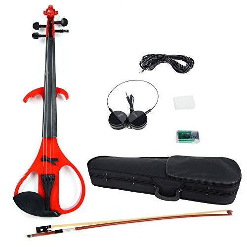 Olymstore(Tm) 4/4 Full Size Crystal Electric Violin + Case + Rosin + Head Set + Bow + Battery Red And Black