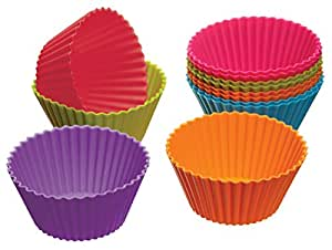 """Set of 12 Coloured Silicone Cupcake / Muffin Cases 2.8"""""""