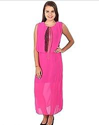Vteens Pink & Black Maxi Dress (vd1504-S_Pink_Small)