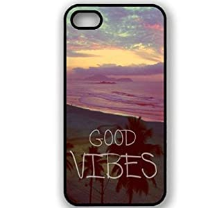 S9Q Retro Tribal Vintage Good Vibes Pattern Black Sides Hard Back Case Cover Skin For Apple iPhone 4 4S Style A