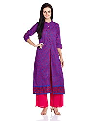 Vishudh Women's Straight Kurta (VNKU004738_Royal Blue_M)