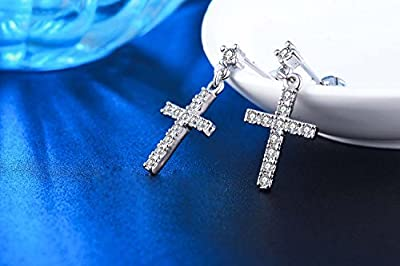 Superhai Fashion 925 Simple Elegant Diamond Cross Pendant Earrings Bride Earrings