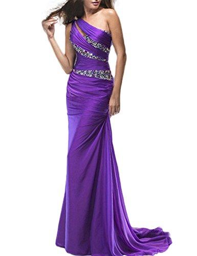 LucysProm Women's Prom Dresses One Shoulder Mermaid Chiffon Evening Dresses Size 8 US Purple