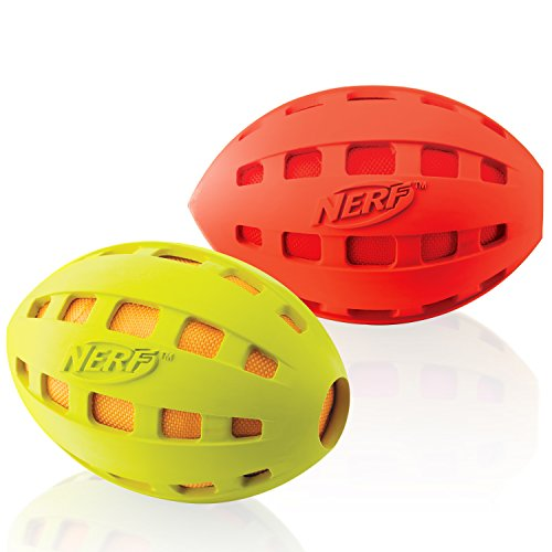 Nerf Dog Crunchable Football, 7-Inch, (2-Pack), Red And Green