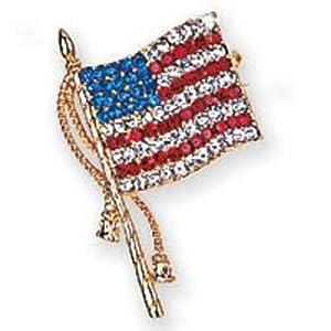 *Gold Tone Austrian Crystal American Flag pin or Brooch
