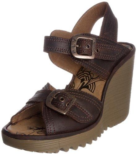 Fly London Women's Pelia Dark Brown Wedge Sandal P500193004 6 UK
