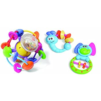 A colorful trio of fun toys to captivate and amuse baby. Includes Firefly teether, Elephant teether/rattle, and an intriguing ball with movable beads and a soft rattling sound.