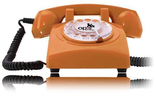 OPIS 60s CABLE: designer retro phone / rotary dial telephone / retro style phone / vintage telephone / classic desk phone with rotary dialler (orange) image