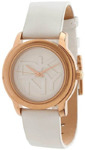 DKNY White Leather Rose-Gold Round Women's watch #NY8802